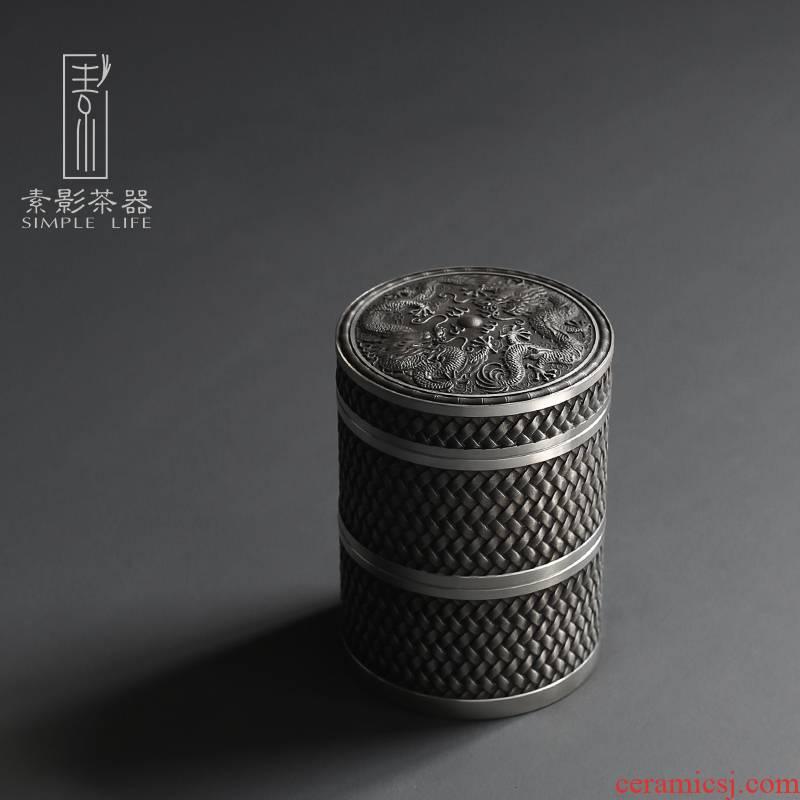 Plain film double tin trumpet caddy fixings metal circular seal tank creative relief dragon small POTS of tin as cans