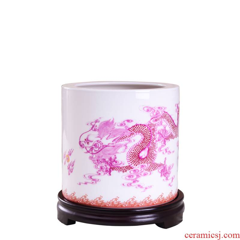 Porcelain, jingdezhen ceramic furnishing articles study the desktop decoration pen container dragon dragon bag mail bless creative arts and crafts