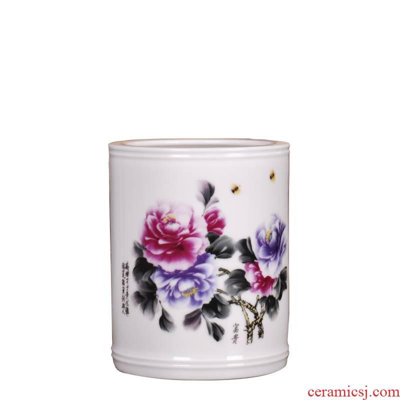 Porcelain, jingdezhen ceramics creative study small brush pot furnishing articles suit household qi PeiCai riches and honor peony