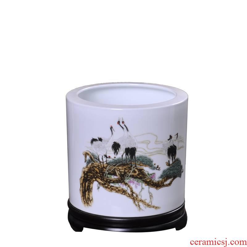 Jingdezhen porcelain, ceramic brush pot desktop decoration pine crane, changchun creative furnishing articles study to elders