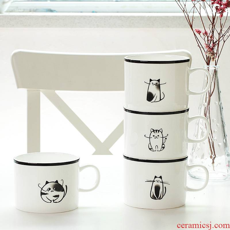Japanese contracted ipads China mugs of coffee milk cup of dog and cat to express it in picking cup ceramic drinking cups