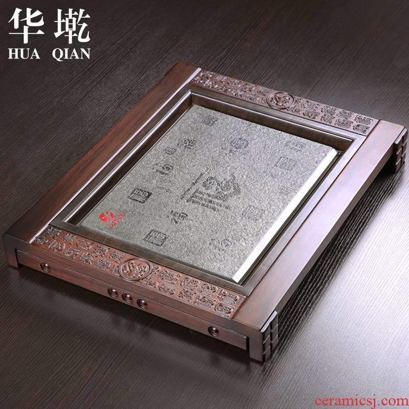 China Qian ebony wood with natural stone tea tray kunfu tea sea its tea set up drainage type tea tray