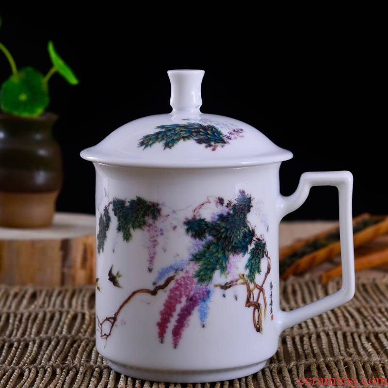 Jingdezhen porcelain, ceramic tea cup with lid cup home master single cup small pastel large office