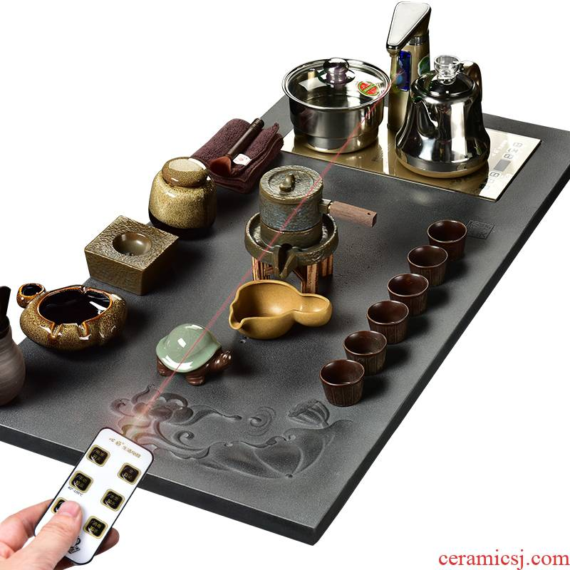 The beginning day, violet arenaceous kung fu tea set sharply stone tea tray was full of a complete set of intelligent electric tea stove four oneness automatically sheung shui