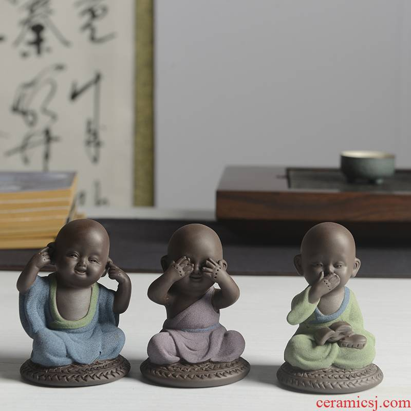 JiaXin boutique tea purple sand tea by hand three don 't spoil the young monk buddhist fancy the boy lovely tea furnishing articles can be raised