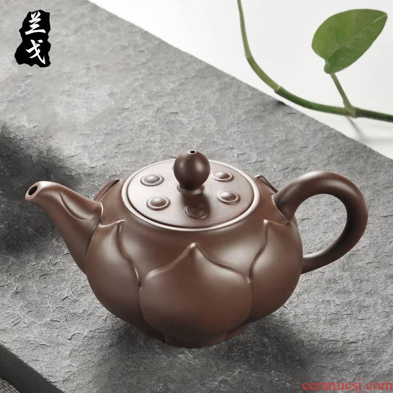 He undressed ore ceramic tea pot - kung fu tea set manually old purple clay pot of tea accessories cup suit