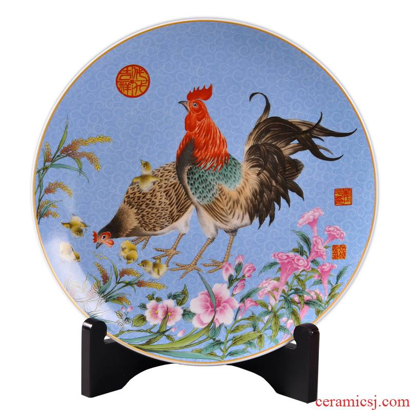Porcelain, jingdezhen ceramic chicken furnishing articles creative New Year gift Porcelain arts and crafts home sitting room decorate dish