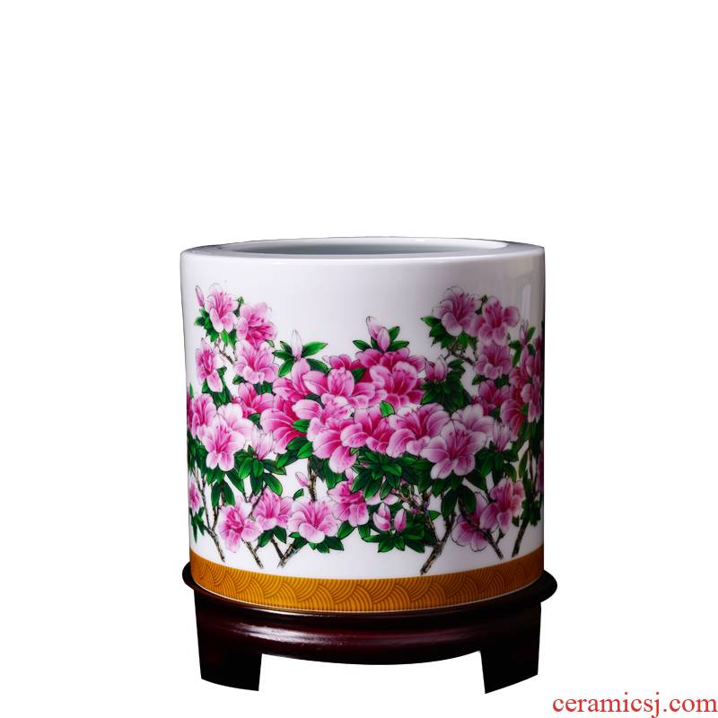 Porcelain, jingdezhen ceramic desktop furnishing articles of handicraft large brush pot azalea Chinese office decoration