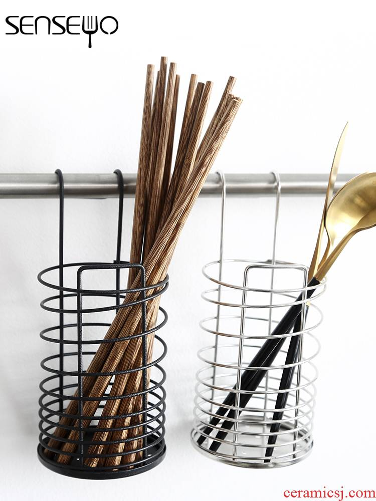 304 stainless steel chopsticks tube hanging tube of chopsticks chopsticks box wall creative kitchen receive a case tableware waterlogging under caused by excessive rainfall
