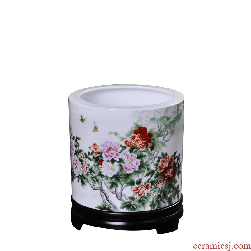 Porcelain, jingdezhen ceramic creative furnishing articles of modern Chinese style spring breeze brush pot study desk prosperous gift bag in the mail
