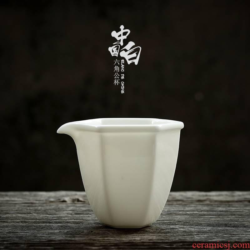 JiaXin dehua white porcelain hexagonal tea tea tea accessories ceramics points tea tea fair keller