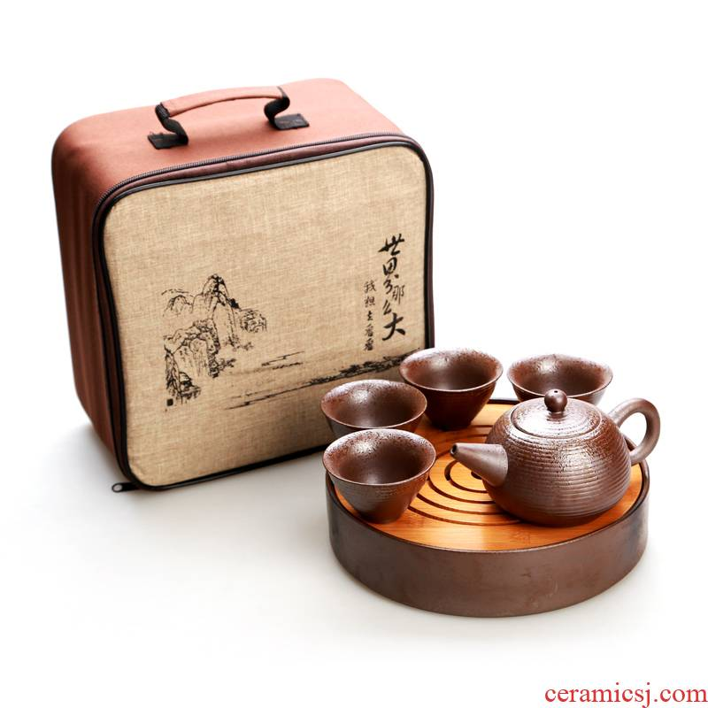 Hong bo acura coarse some ceramic porcelain crack Japanese kung fu tea set on sale of a complete set of dry terms Taiwan bamboo tea tray