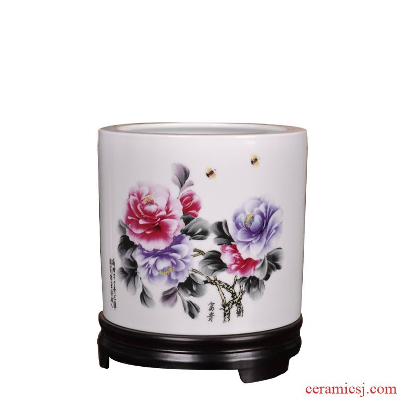 Porcelain, jingdezhen ceramic creative painting and calligraphy brush frame size brush pot desktop furnishing articles riches and honor peony qi PeiCai