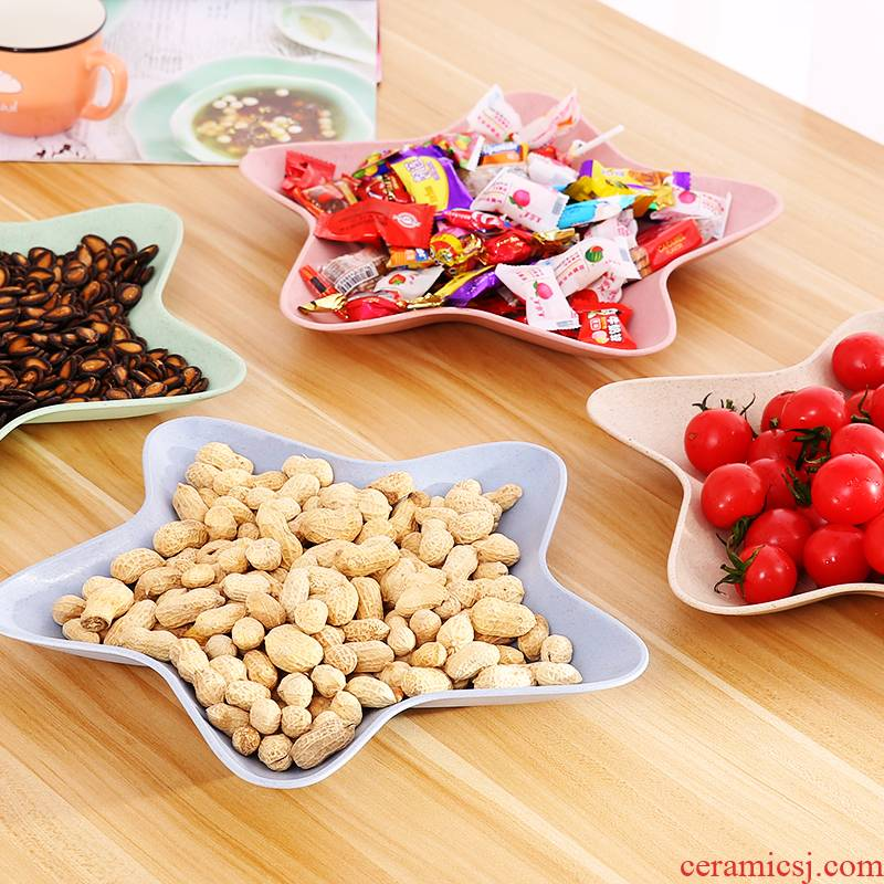 Creative wheat who compote snack plate fruit bowl household contracted sitting room tea table candy plate melon seed plate