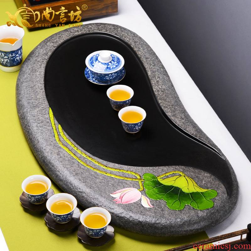 It still his whole stone sharply hand - made suit large black stone material ground drainage tea saucer dish