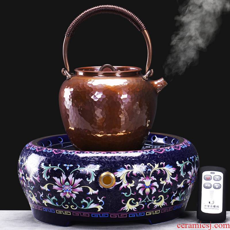 It still fang plates kettle copper boiling kettle kung fu tea set household contracted vintage electric ceramic tea stove bronze