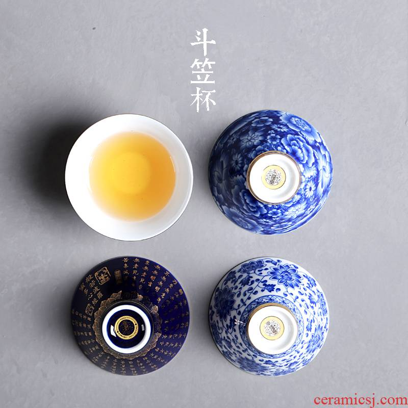 Hong bo the best blue and white porcelain hat to kung fu tea cups ceramic sample tea cup lamp that pu 'er tea is red tea cups