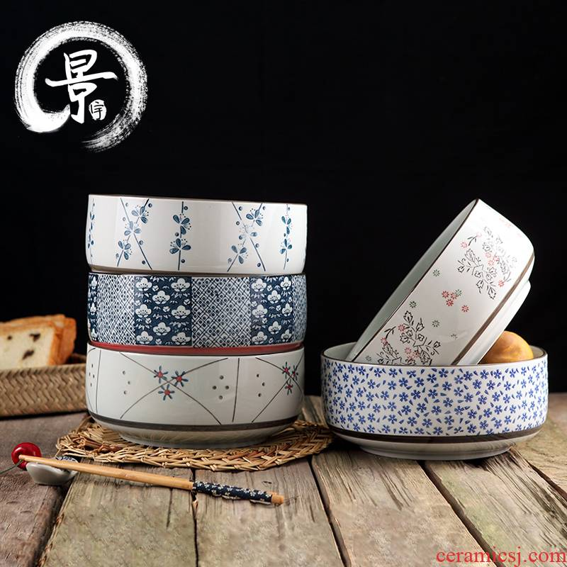 Japanese and wind ceramic bowl large jingdezhen ceramic bowl under the glaze color of eight inches ribs bowl of soup bowl surface