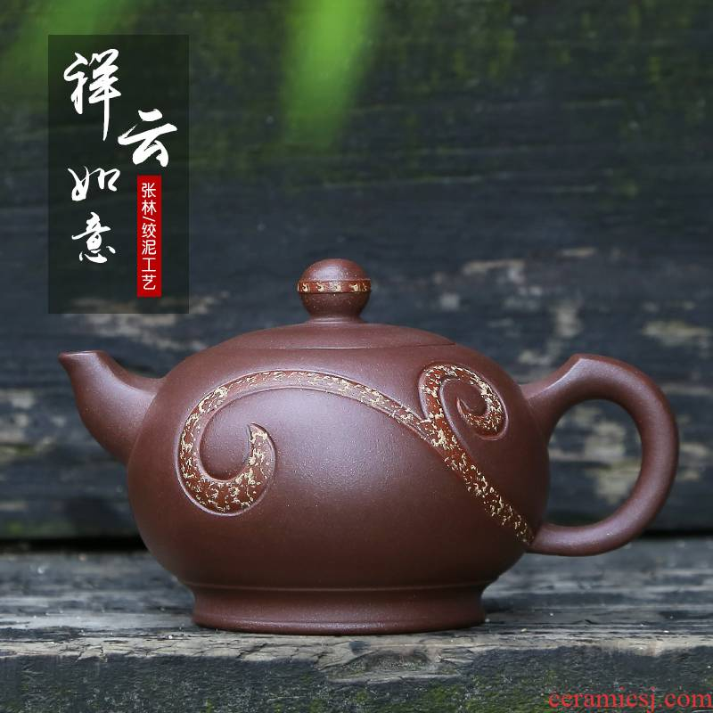 Mingyuan tea pot of yixing it pure manual famous ore purple clay teapot tea tea set