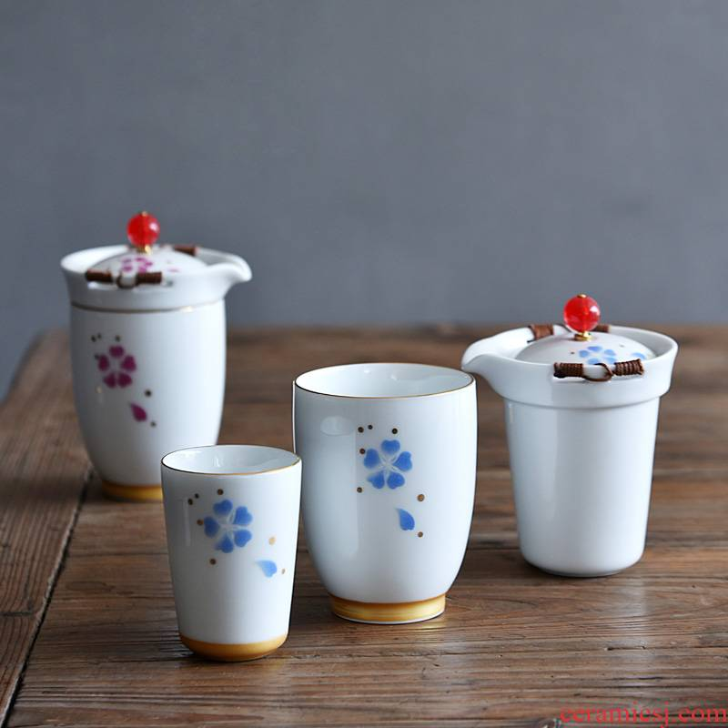 Hong bo gourmet tea cup portable travel kung fu tea set ceramic filter with cover crack cup cup of a complete set of suits for