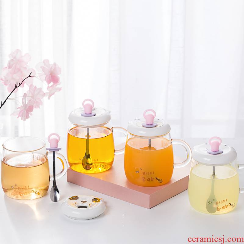Royal he contracted small pure and fresh and creative express it in transparent glass with cover heat - resistant glass milk a cup of flower tea for breakfast