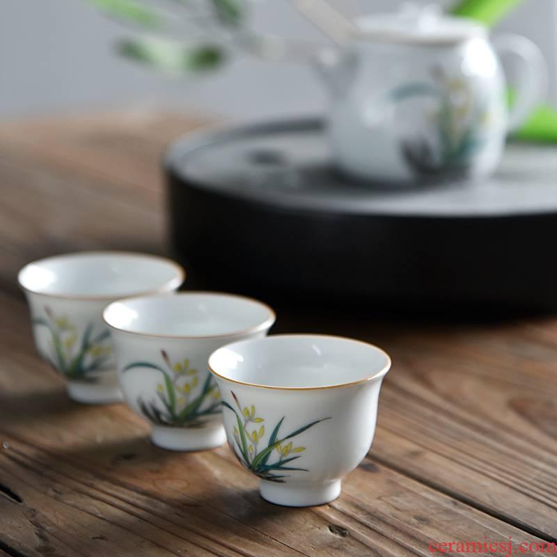 Hong bo fine jade porcelain sample tea cup celadon teacup product of ceramic masters cup suet white individual cup of kung fu tea set