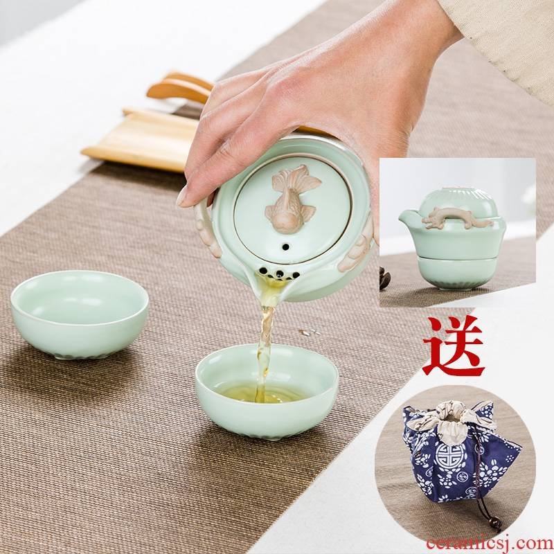 Travel tea set suit portable bag type teapot is suing the mini Travel cup crack cup a pot of 2 cup two cups