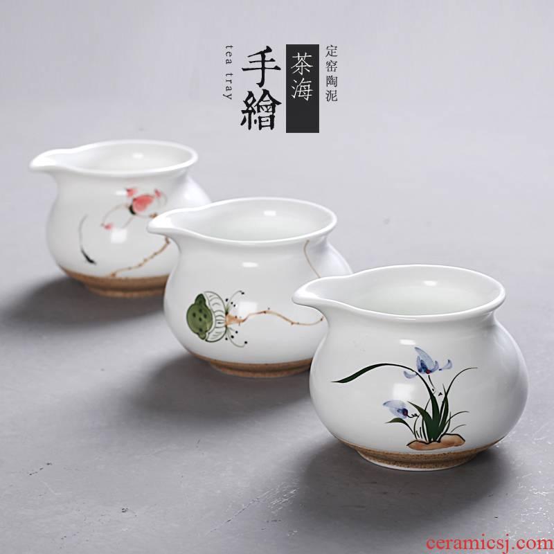 Hong bo acura hand - made ceramic fair keller kung fu tea set zero distribution of tea ware and cup and cup, hand draw tea sea