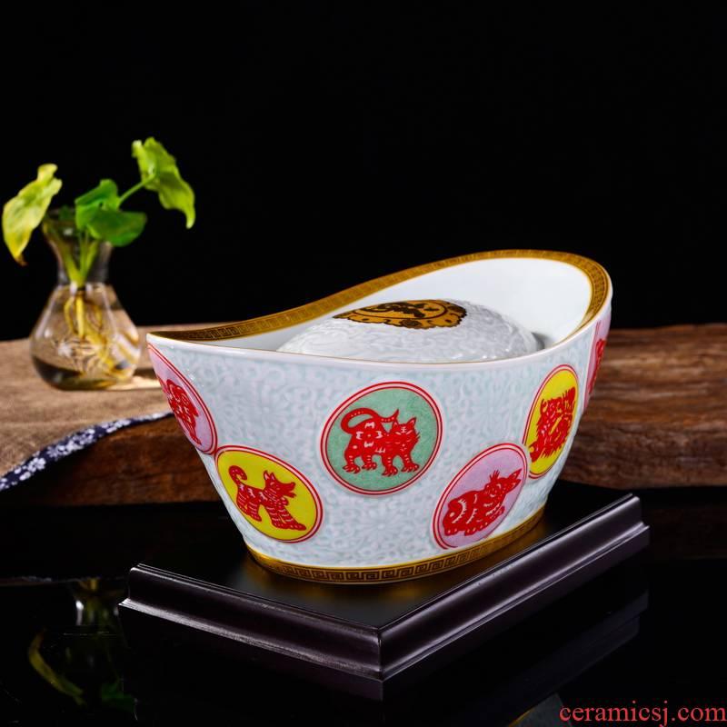 Greeter its sitting room furniture creative furnishing articles of handicraft decorative maxim cornucopia gold ingot ceramics