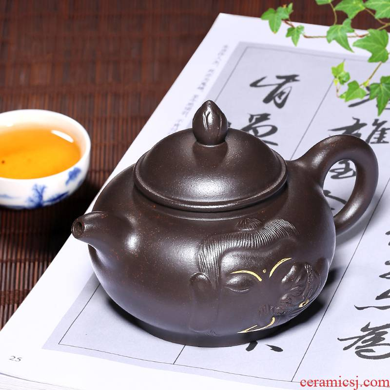 Mingyuan tea pot are it pure manual undressed ore, black gold sand lianxiang zen edge yixing teapot kung fu tea set