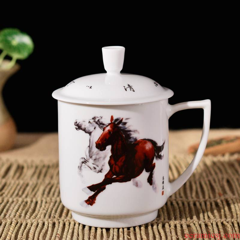 """Jingdezhen ceramic cups with cover office household porcelain cups rat ox tiger snake horses sheep monkey chicken dogs"""""""