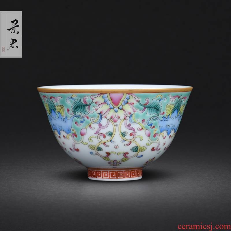 Hand - made JingJun jingdezhen ceramics colored enamel flowers all Hand sample tea cup cup master of kung fu single CPU