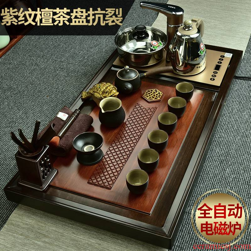 The beginning day, violet arenaceous kung fu tea set of a complete set of domestic The whole piece of wood tea tray was four one automatic induction cooker