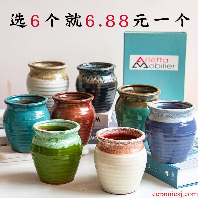 Fleshy flower pot through pockets tao meaty plant orchid contracted large take creative ceramics POTS wholesale