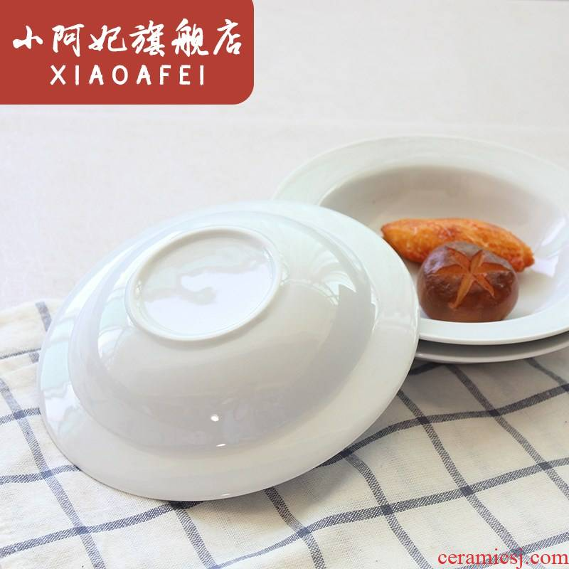 7 inches small straw hat disc ceramic soup plate continental plate household contracted pasta dish plate straw hat
