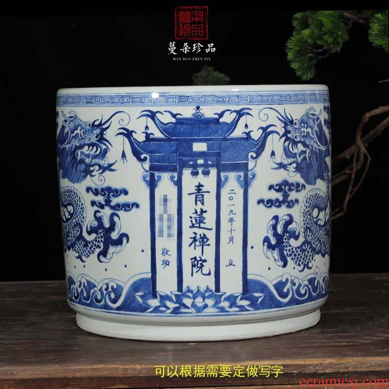 Jingdezhen hand - made dragon write custom made big censer Jingdezhen hand - made ssangyong grain porcelain temple incense buner
