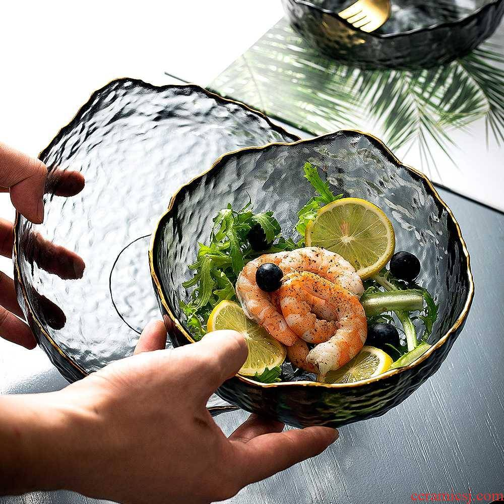 Hammer eye grain glass fruit bowl sitting room tea table household salad bowl Nordic style of creative move of modern fruit bowl