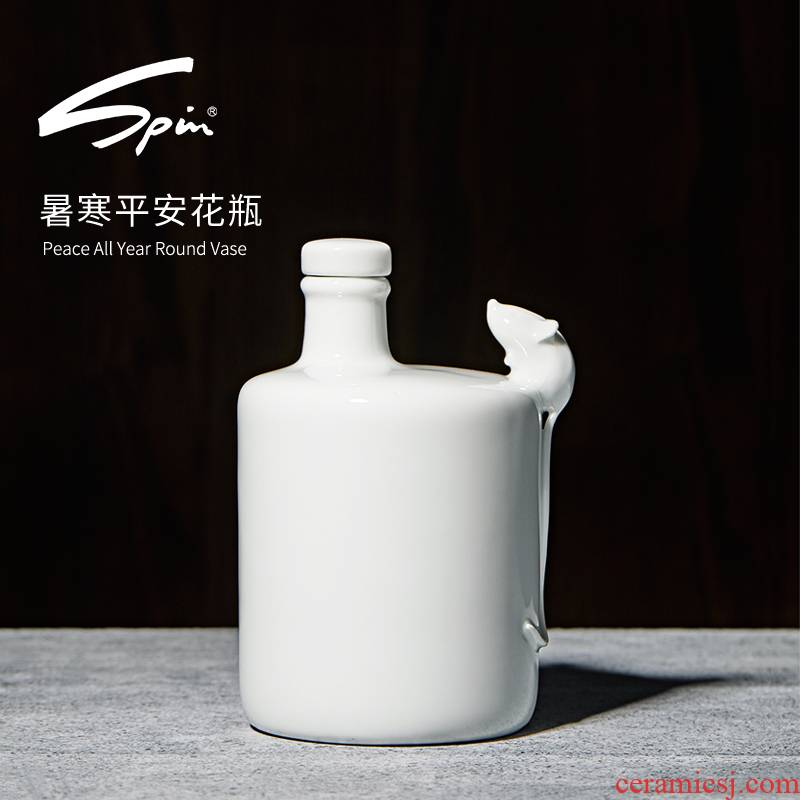 Spin heat cold peace vase furnishing articles sitting room white flower arranging jingdezhen ceramics creative small vases, year of the rat