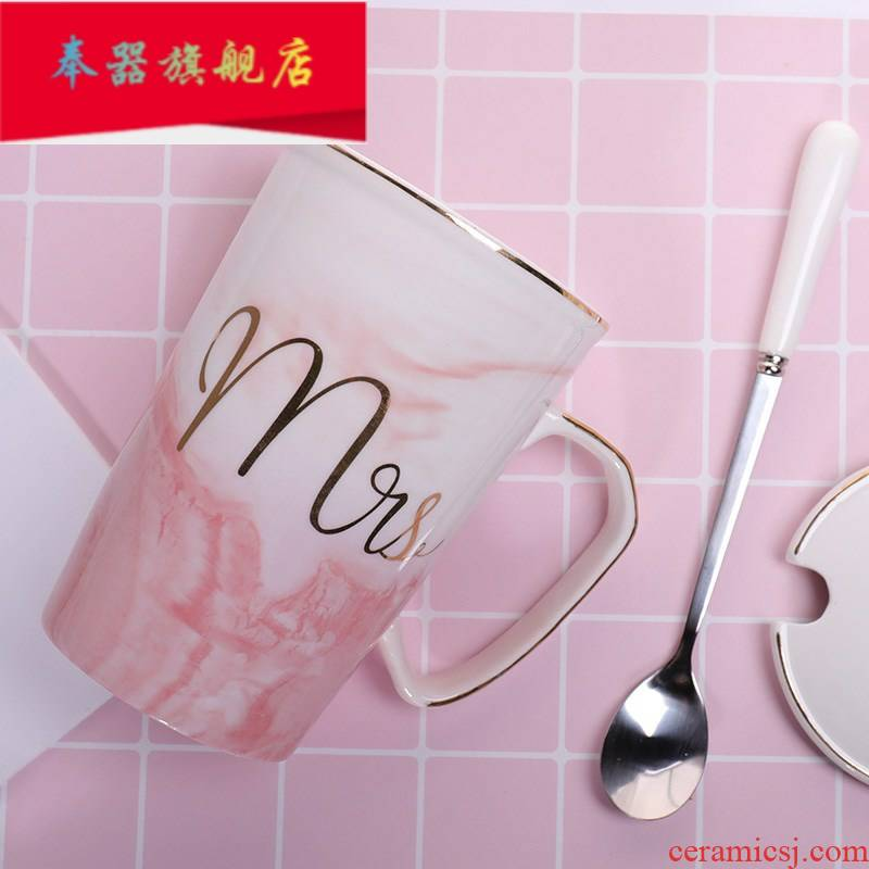 Couples mark is natural water cup home office capacity ins ceramic spoon 1 pair of milk coffee cup with cover