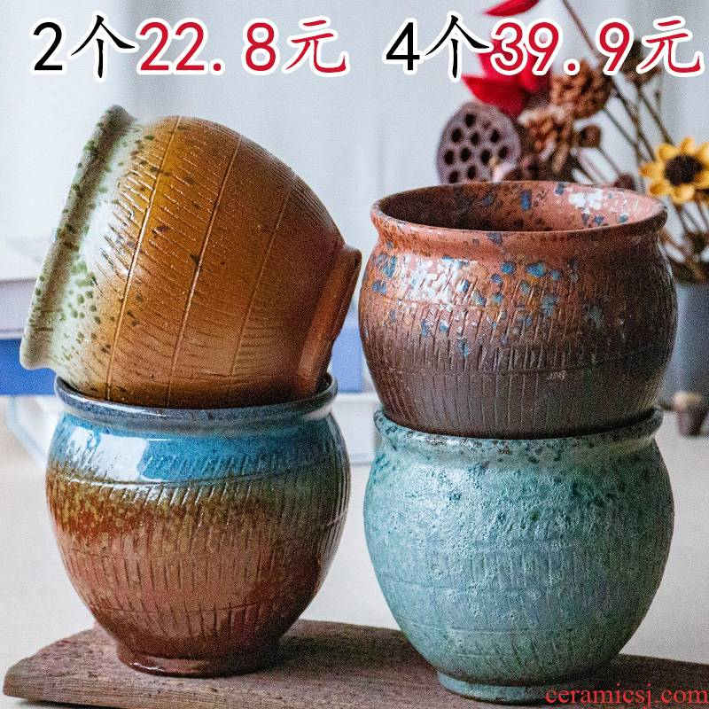Meaty plant pot coarse pottery flowerpot, fleshy, the plants and old running the high pot, ceramic retro move