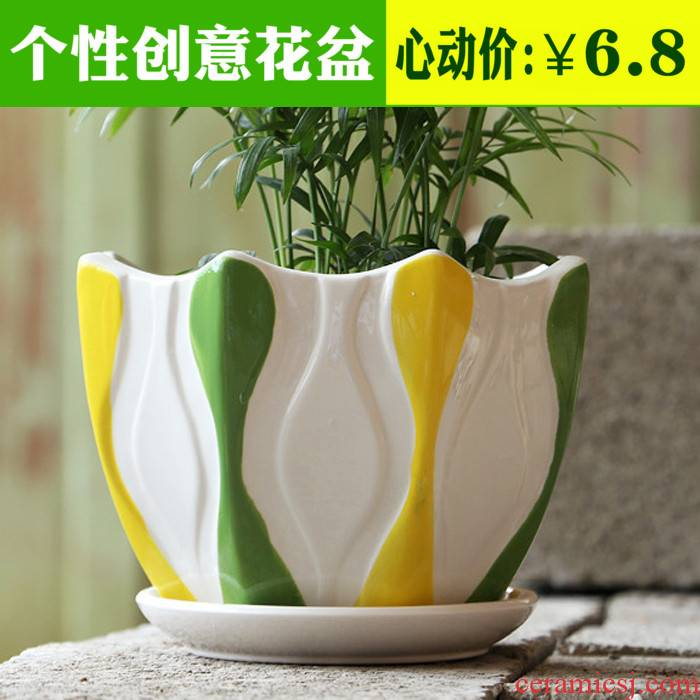 Flowerpot ceramic contracted large indoor potted flower pot green plant with tray plastic balcony rounded fleshy flower pot