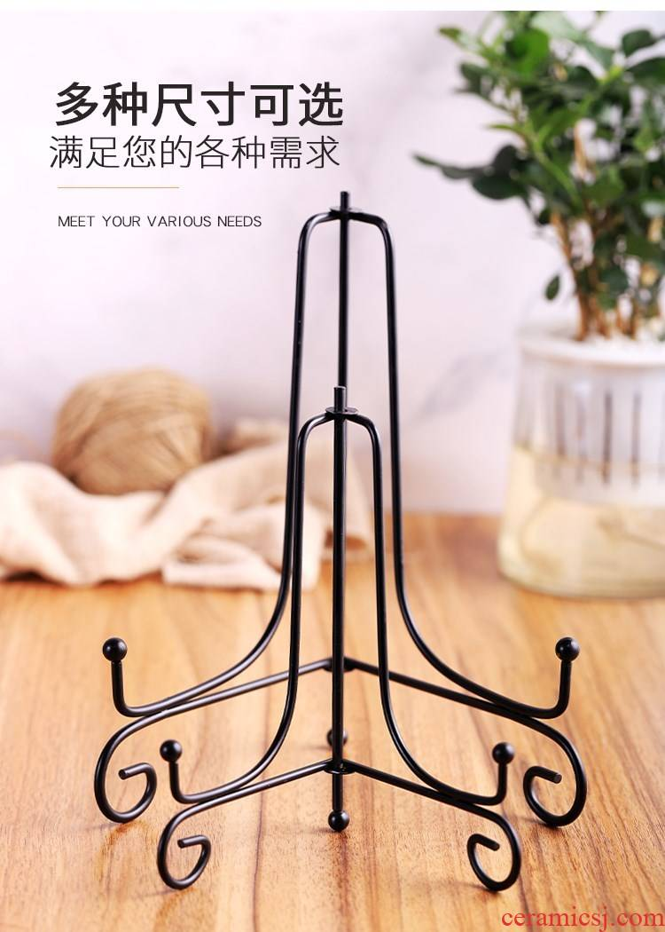 Wrought iron plate stent handicraft tripod charcoal carving disc holder plate frame puer tea stone exhibition.