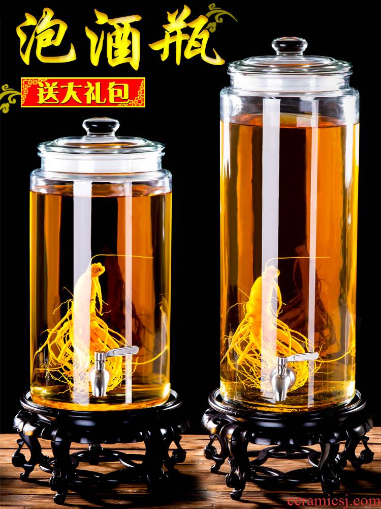 Scene for thickening mercifully wine glass bottles with tap 10 jins 20 jins home mercifully wine ginseng wine bottle mercifully wine jars