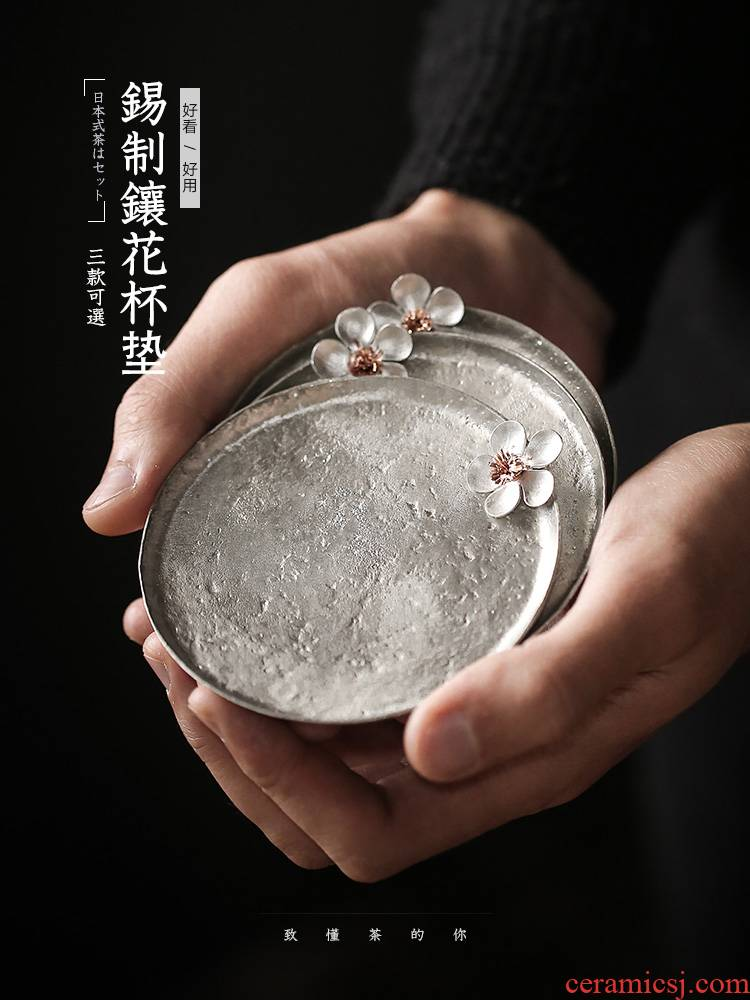 Japanese tin name plum cup mat hand the cup mat cup saucer metal insulation pad tea kungfu tea accessories