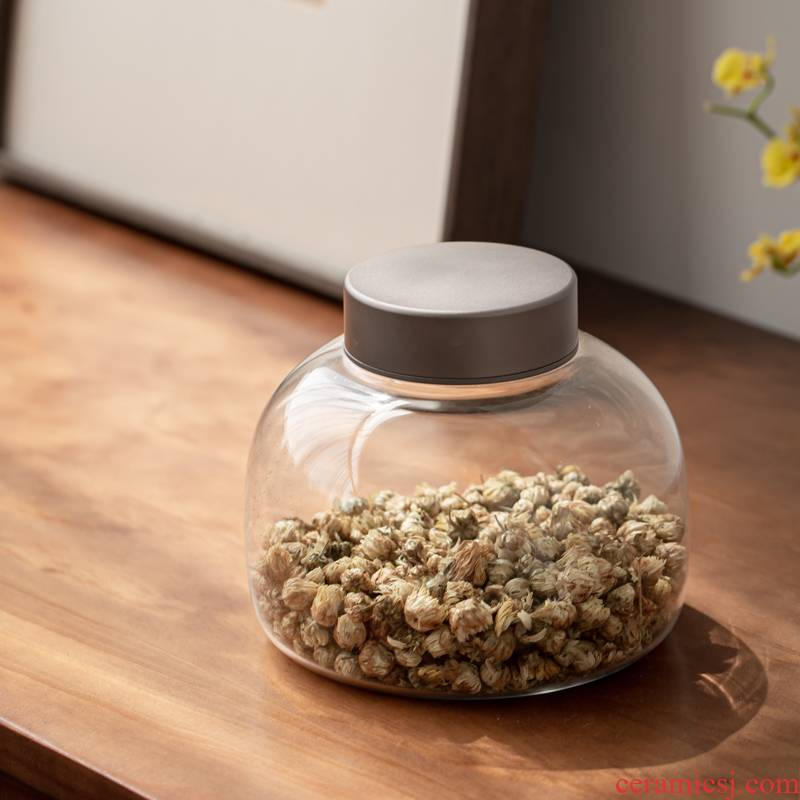 Tin cover glass seal storage jar solid wood caddy fixings cover transparent bottle tea moisture storage POTS