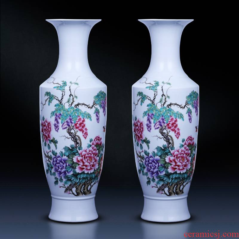 Jingdezhen ceramics powder enamel vase landing large blooming flowers I sitting room decorate household act the role ofing is tasted furnishing articles