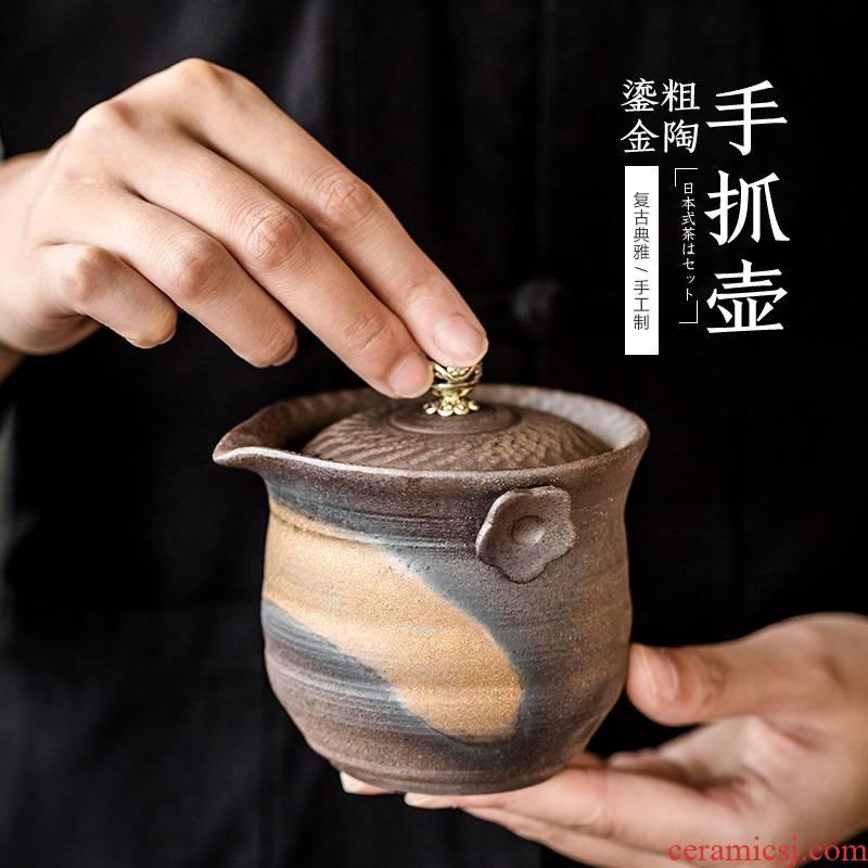 Japanese ceramic teapot gold finger retro crack pot of tea cup cup three tureen kung fu tea set manually