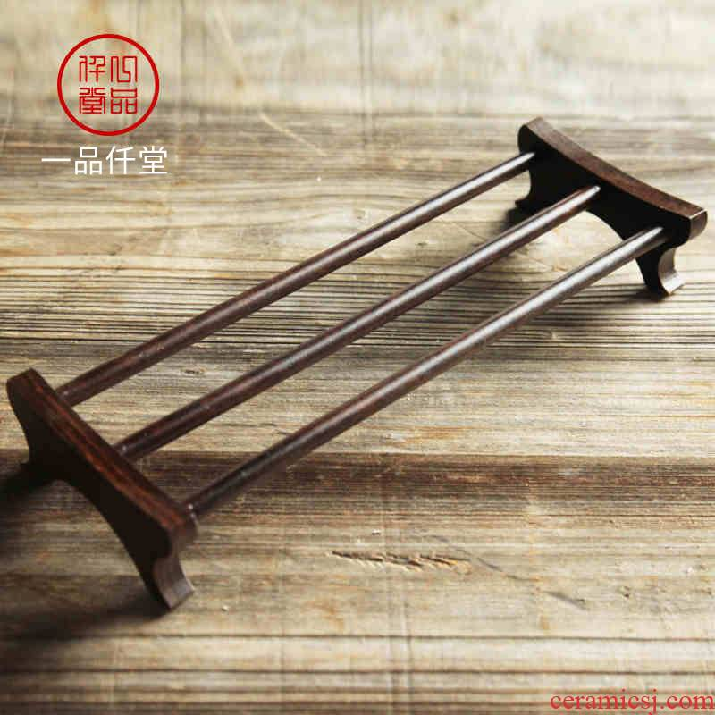 Yipin thousand ebony teacup solid wood frame # cool beverage holder teacup kung fu tea tea accessories furnishing articles