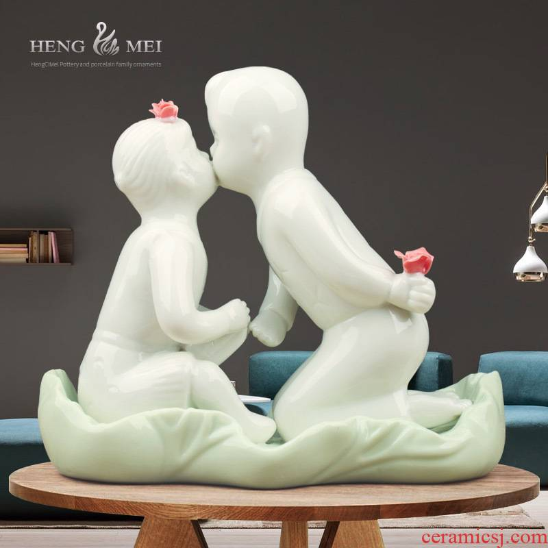 Love 's kiss and exquisite imitation jade porcelain ceramic crafts home decoration fashion home furnishing articles furnishings