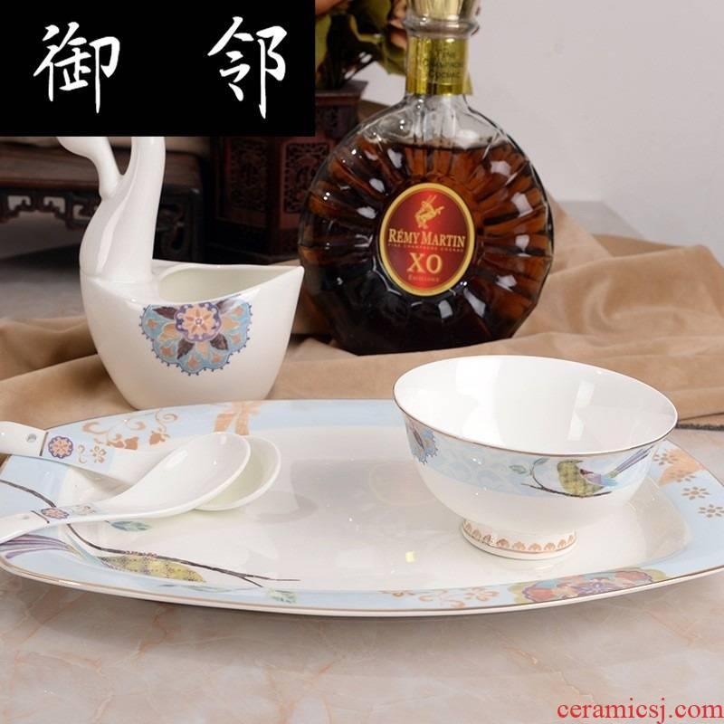 Propagated European tableware suit scene 60 skull bowls plates tableware hotel wedding gift set
